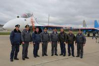 Летчики «Русских Витязей», прилетевшие бери Су-30СМ изо Иркутска