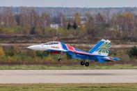 Посадка Су-30СМ получи аэродроме Кубинка
